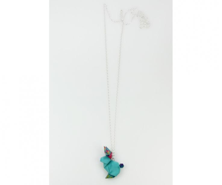 Silver and blue origami rabbit necklace
