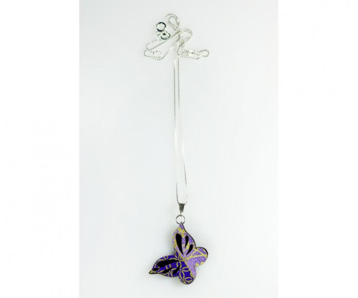 Oriental style small butterfly pendant, front view