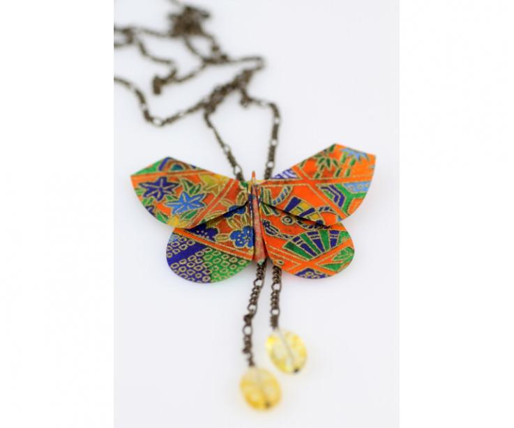 Long butterfly necklace for women