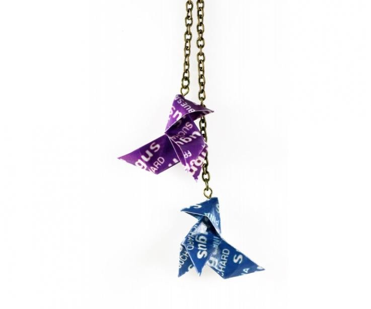 Fashionable long necklace Sugus paper origami bird, front view