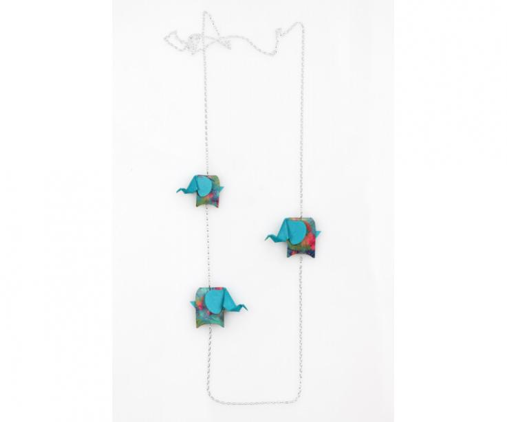 Silver necklace with blue origami elephants