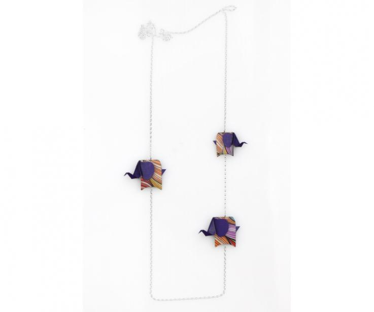 Silver necklace with purple origami elephants