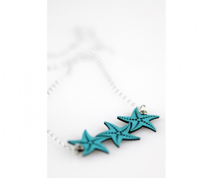 Necklace with three blue paper stars