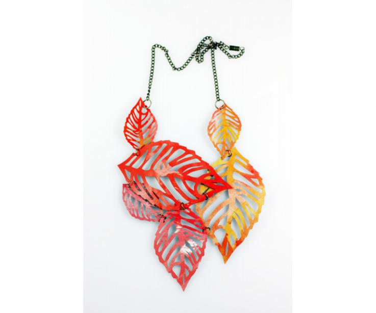 Creative costume jewellery, large leaves necklace, front view