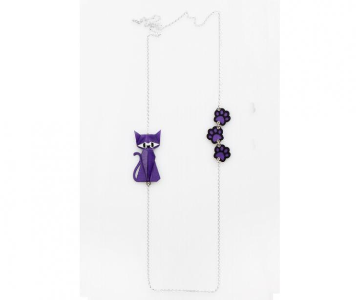 Silver necklace with a purple origami cat and footprints