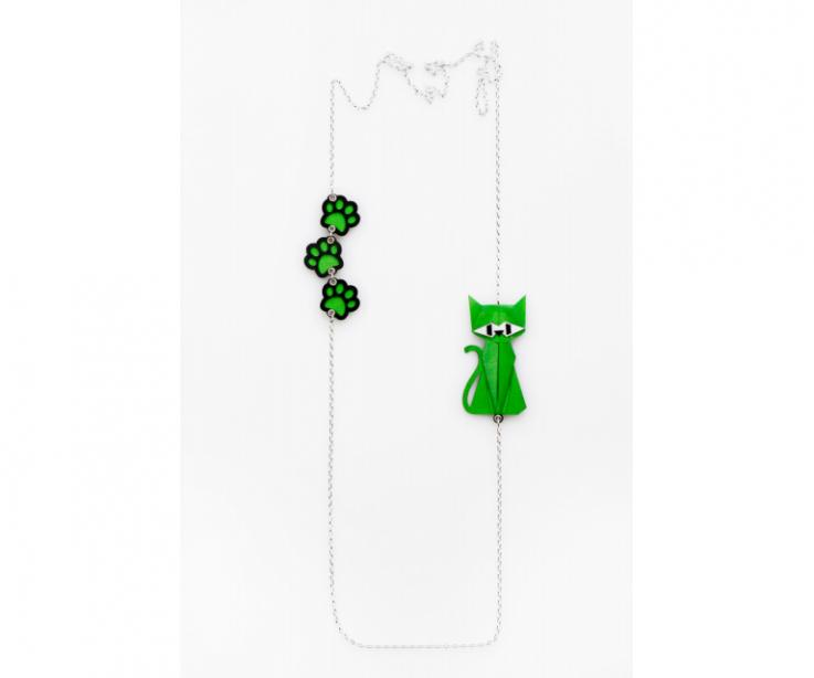 Silver necklace with a green origami cat and footprints