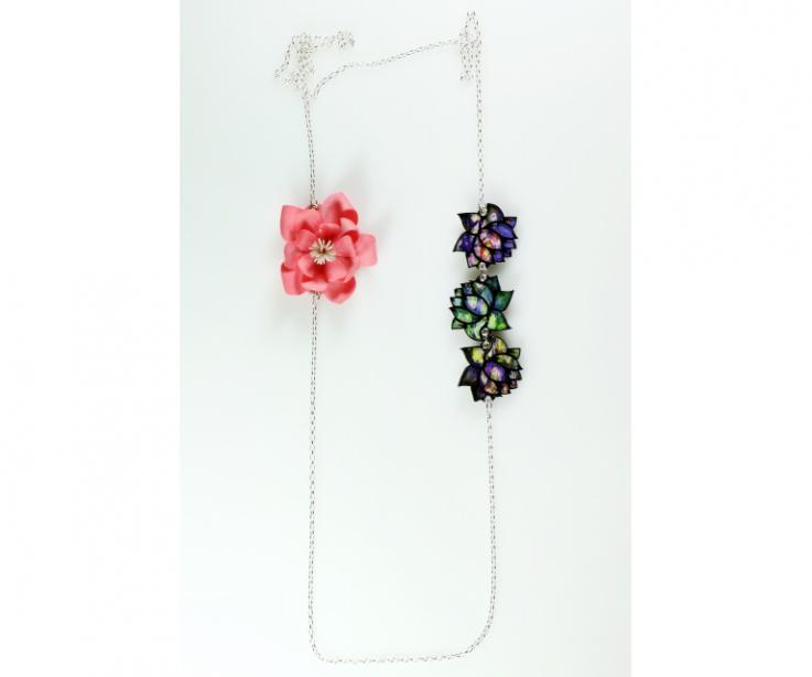 Long necklace with sterling silver chain and flowers made with treated paper