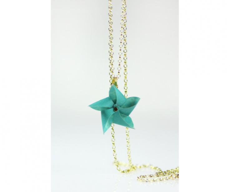 Paper pinwheel pendant, front view