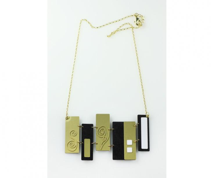 Necklace in paper and sterling silver gold plated with geometric shapes inspired by Klimt