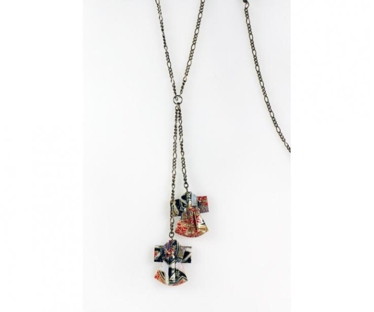 Long women's necklace with origami kimonos, front view