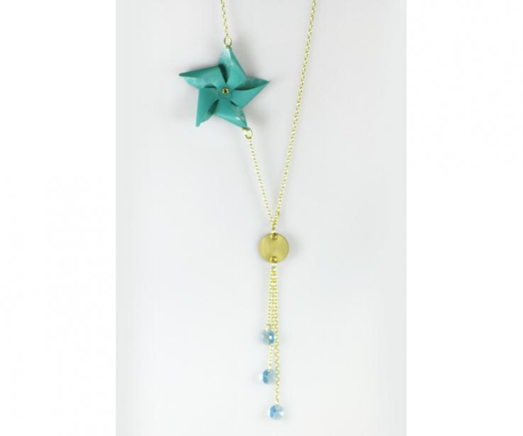 Necklace with paper pinwheel and gold chain, front view