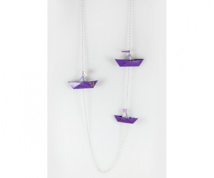Long necklace with boats made of paper and sterling silver, front view