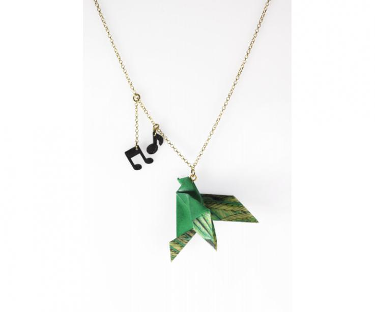 Origami bird in costume jewellery for women, front view