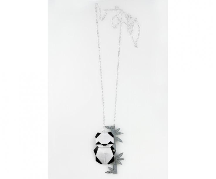 Silver necklace with origami panda