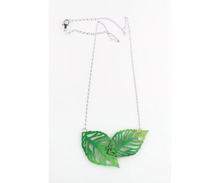 Two-leaf pendant and sterling silver chain, front view