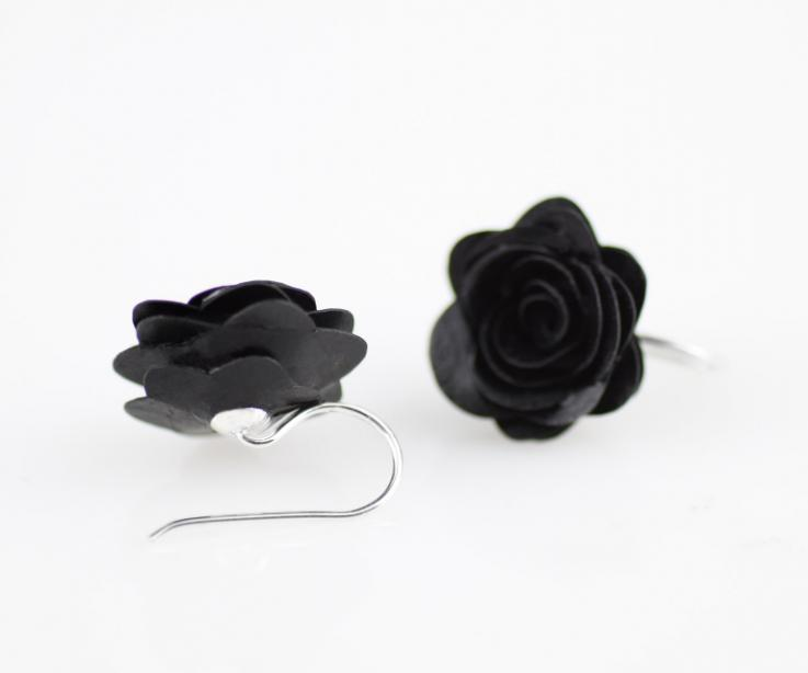Rose paper and sterling silver women's earrings