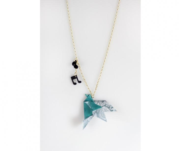 Origami bird necklace, front view