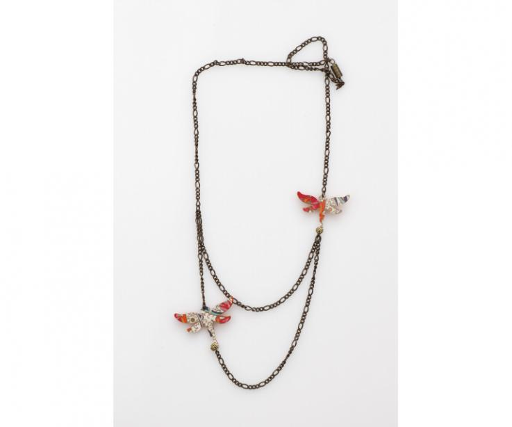 Collar libélulas boho con cadena dorado viejo, vista frontal