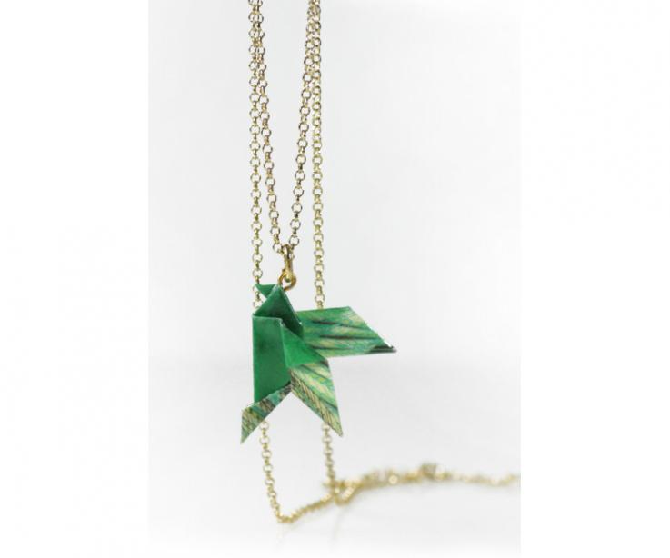 Origami paper bird pendant and gold chain, front view