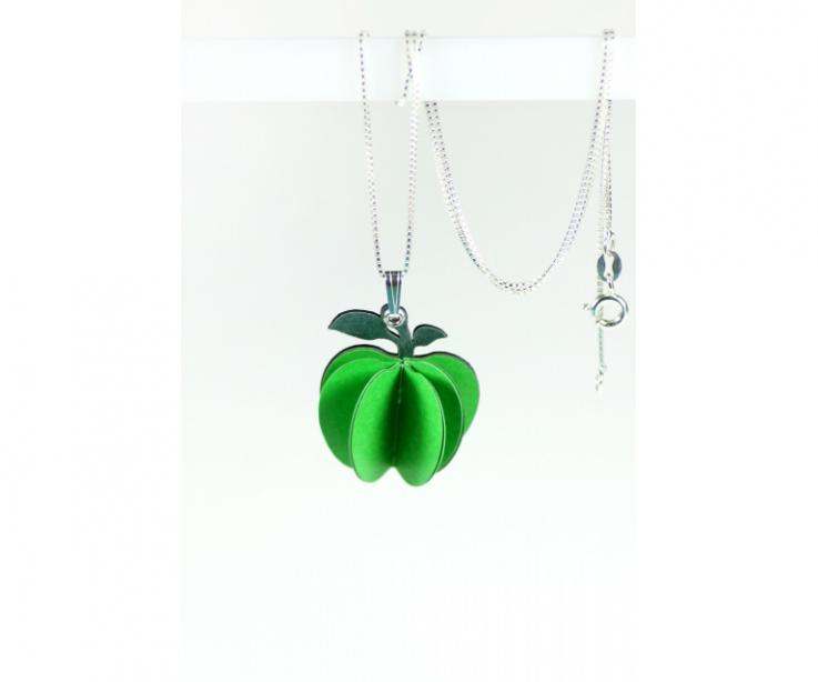 Handmade Jewels inspired in well-known works of art. Green apple-shaped pendant