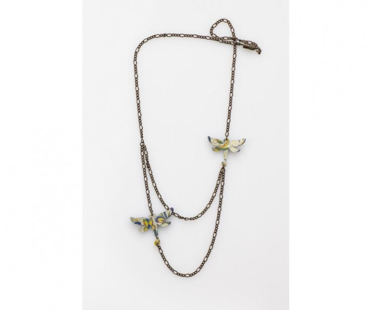 Women's necklace with paper dragonfly, front view