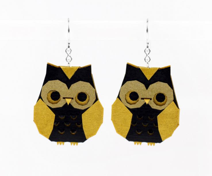Golden origami owl earrings