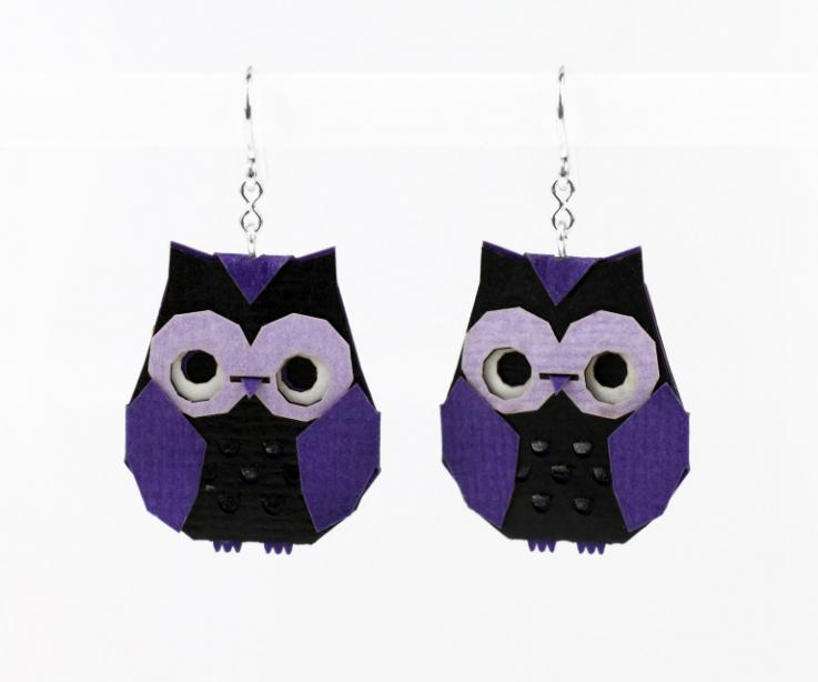 Purple origami owl earrings