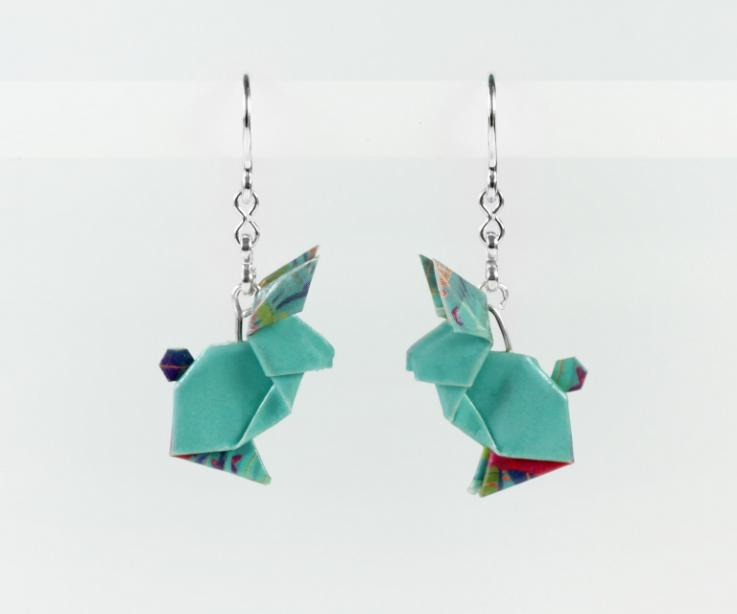 Blue and silver paper rabbit earrings