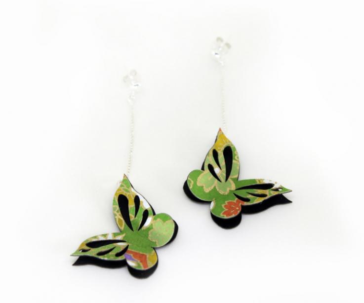 Paper earrings with butterfly, original gift