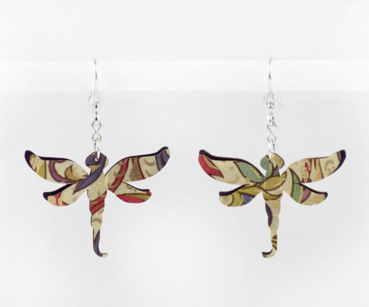 Sterling silver and paper dragonfly earrings, front view