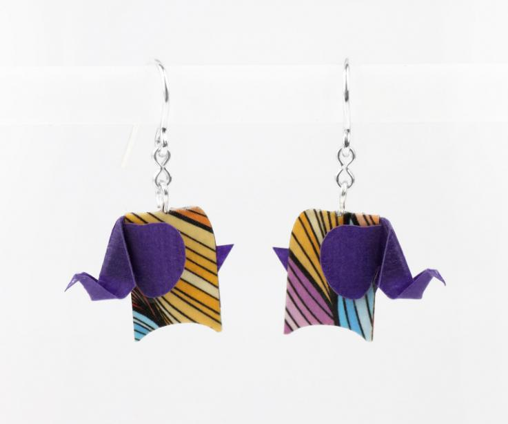 Purple elephant earrings in paper and sterling silver