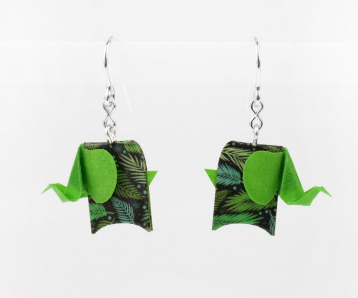 Earrings green elephant in paper and sterling silver