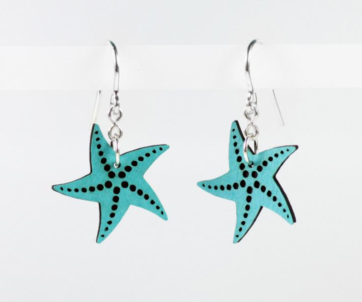 Blue starfish earrings in paper and sterling silver