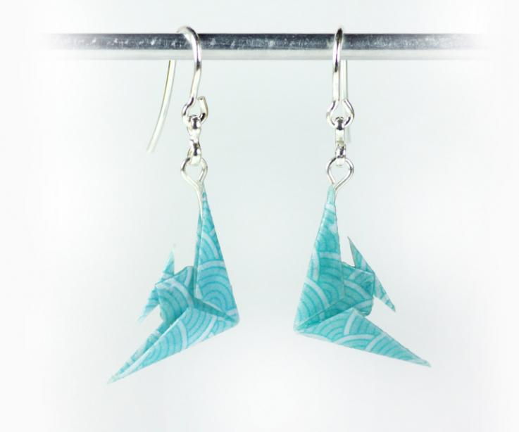 Earrings for women in the shape of paper fish, front view