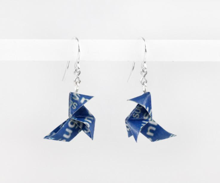 Origami bird earrings with Sugus paper, front view