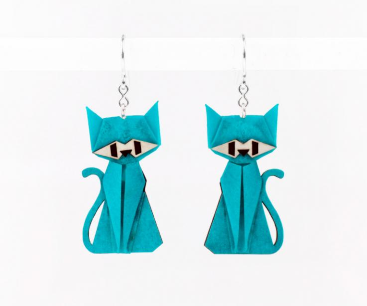 Blue cat earrings in paper and sterling silver