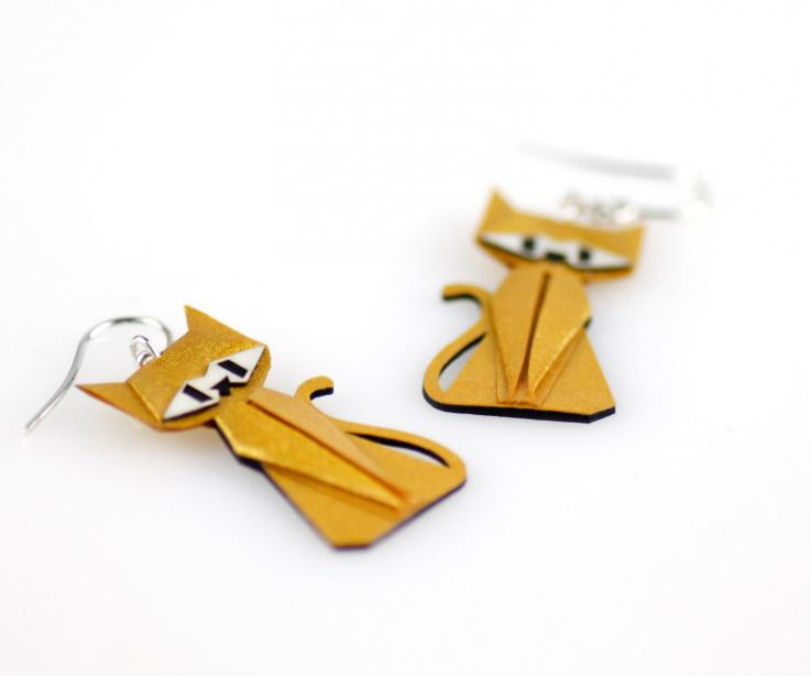 Golden cat earrings in paper and sterling silver