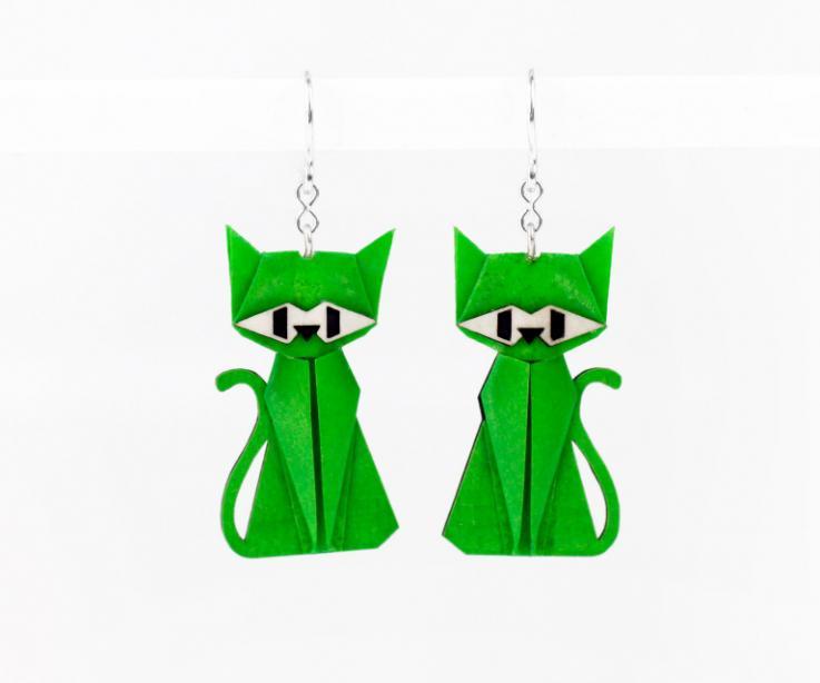 Pendientes gato verde en papel y plata de ley