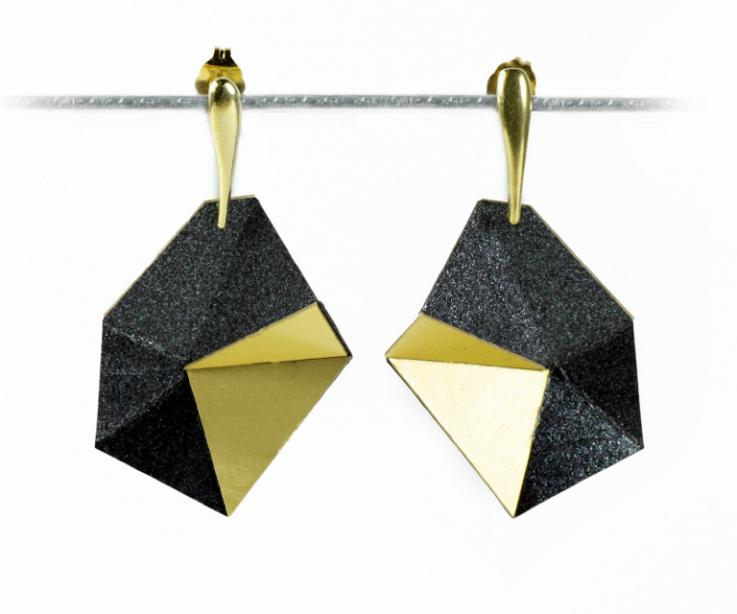 Geometric earrings, asymmetric in relief of treated paper, pure lines. Affordable price. Paper jewellery