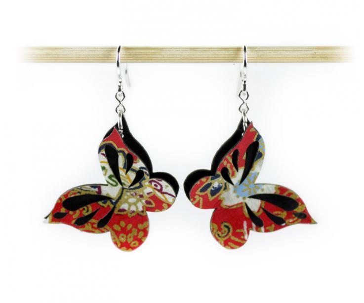 Butterfly earrings by the brand Joyas de Papel, front view