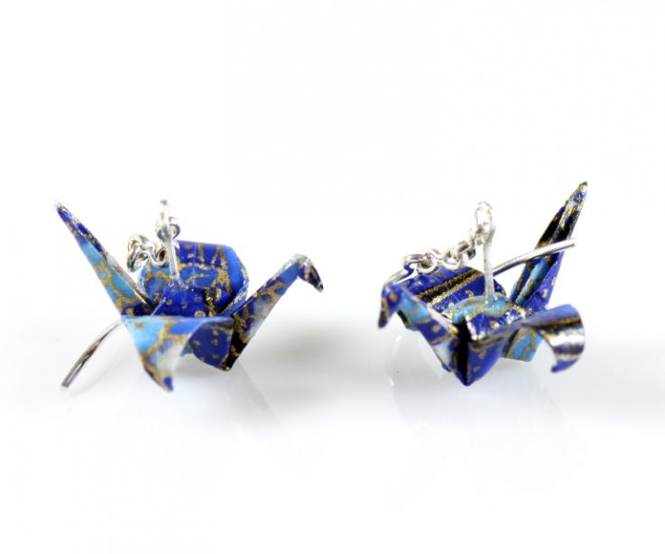 Crane earrings handmade of japanese paper and 925 silver