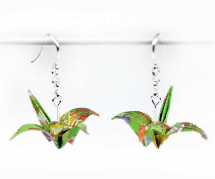Fashionable crane earrings on paper and silver, front view