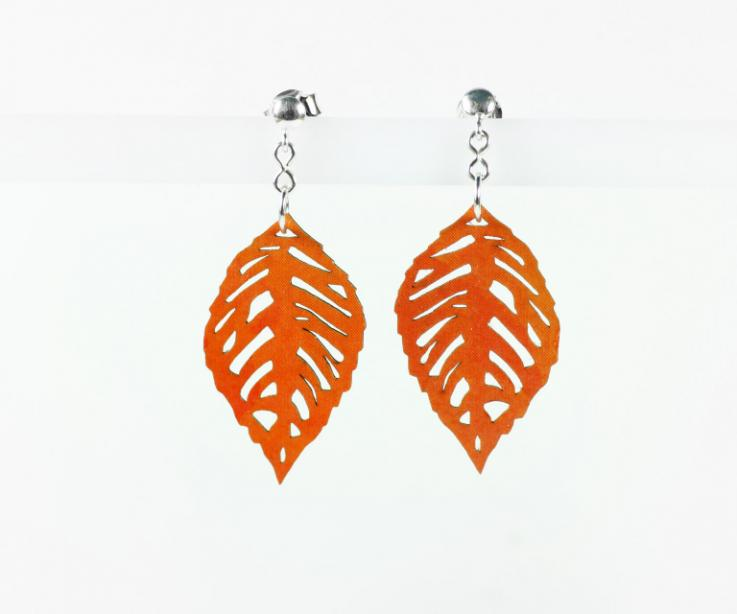 Earrings for women with pretty leaves on paper, front view