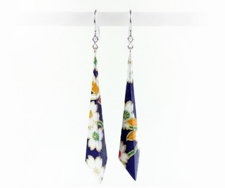 Pyramid Earrings of paper and sterling silver