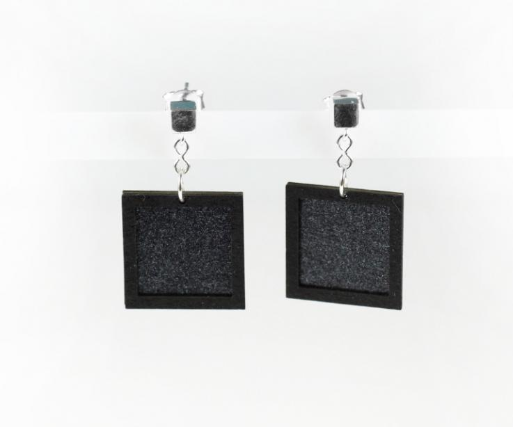 Costume jewellery made of sterling silver and black square paper
