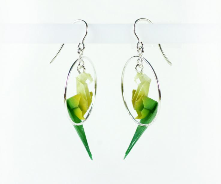 Origami parrot earrings on paper and silver for woman