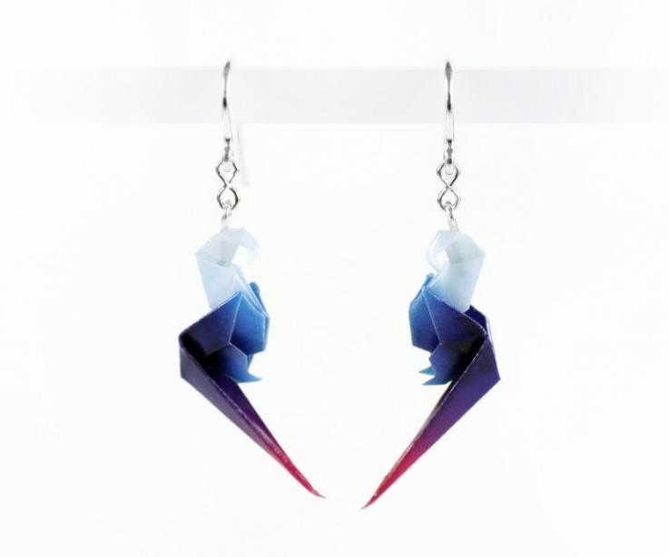 Long earrings with paper parrot and sterling silver