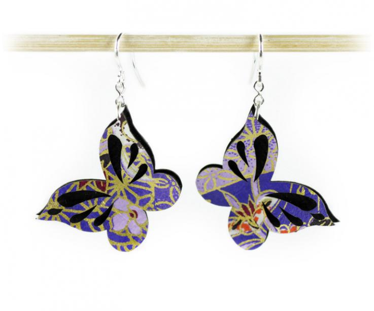 Original butterfly earrings on paper and silver, front view