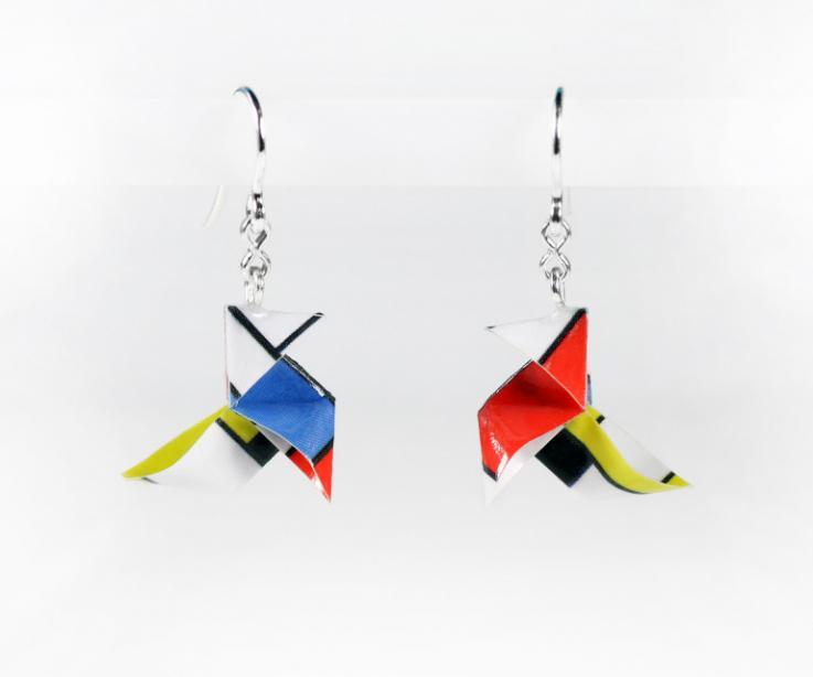 Earrings of minimalist design, architecture. Author's jewellery
