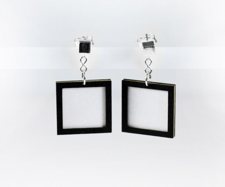 Square earrings made of treated paper, white color